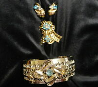 Vintage Jewelry-Gold-Tone Cuff Bracelet,Pin, Screw Back Earrings Blue Rhinestone