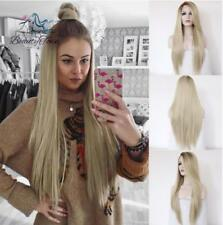 Hand Tied Women Ombre Blonde Lace Front Wigs 2 Tone Color Brown Roots Blonde Wig