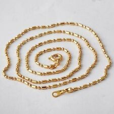 XUP002-Womens Yellow Gold Ball Tag Filled 1mm Dog Bead Necklace Chain 20 inch