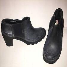 Hunter Dark Dust Blue Heel  Rain Boots Sz 9