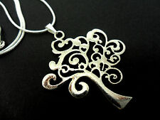 A TIBETAN SILVER TREE OF LIFE THEMED NECKLACE. NEW.