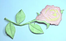 PINK ROSE FLOWER STEM  Embroidered Iron Sew On Cloth Patch Badge APPLIQUE