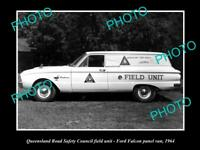 OLD POSTCARD SIZE PHOTO OF QUEENSLAND ROAD SAFETY COUNCIL CAR FORD FALCON 1964