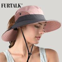 FURTALK Safari Sun Hats for Women Summer Wide Brim UV UPF Ponytail Outdoor Hunti