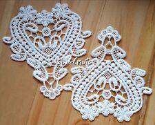 2pcs IVORY Vintage Guipure Lace Hearts Embroidered Applique Patch Motif Trim