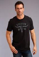 Stetson Unisex Black 100% Cotton Longhorn S/S T-Shirt