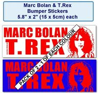 T.REX BUMPER STICKERS PACK OF TWO - 2 COLOURWAYS - MARC BOLAN SHRINE FUNDRAISER