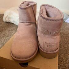 Authentic UGG Women's Shoes Mini Diamanté Bow Boot Light Pink New Size UK 3