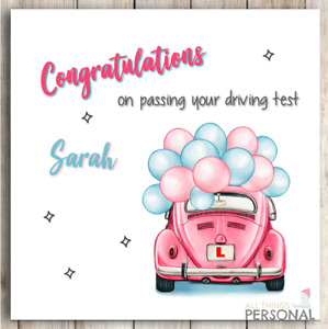 Personalised Passed Your Driving Test Card Congratulations Well Done For Her