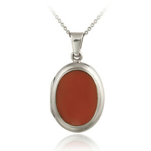 925 Silver Simulated Pink Coral Oval Locket Pendant