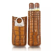 Luxury High Quality Galiner Embossed Leather Cigar Case With Cutter Gift Box