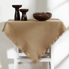"""BURLAP NATURAL TABLE CLOTH / TOPPER 40X40"""" FRINGED COTTON WOVEN INTO BURLAP"""