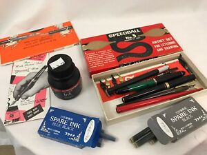 Custom Bundle Vintage Speedball No. 5 Artist Pen Set and Extra Ink