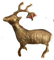 RARE! Vintage Kermani Brass Reindeer Ornate Figurine Collectors Aesthetic