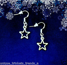 BUY 3 GET 1 FREE~SILVER STAR DANGLE EARRINGS~CUTE CHRISTMAS GIFT FOR HER WOMEN