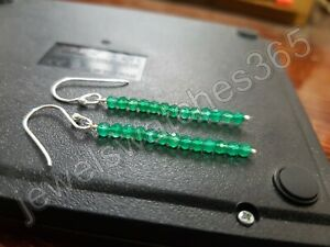 Green onyx faceted rondelles 925 Sterling Silver Dangle Earring Gemstone Jewelry
