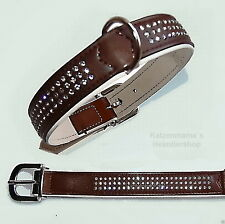 HUNTER Dog collar Swarovski Elements for 42-50 cm Neck circumference brown