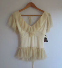 Womens So You sz 10 Cream Ruffle Top (HU)
