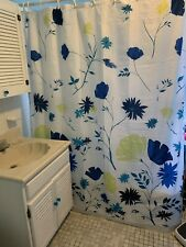 Floral Fabric Shower Curtain Blues & Greens on White