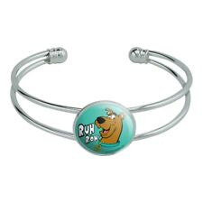 Scooby-Doo Ruh Roh Novelty Silver Plated Metal Cuff Bangle Bracelet