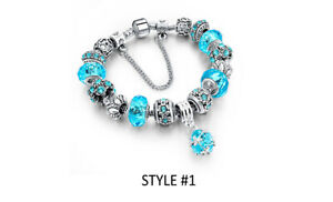 18K White Gold Plated Crystal CZ Charm Bracelet Made with Swarovski Elements
