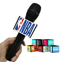 Custom Mic Logo Flag TV interview Microphone News Square Cube Sticker Flag