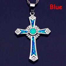 Crystal Blue Opal Cross Pendant Necklace Charm Women Trendy Jewelry Gift Opal--