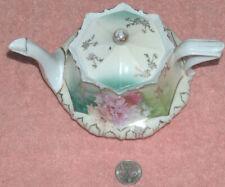 "RS Prussia Unique Footed 4.5"" Delicate Porcelain Lidded Pink Rose Tea Pot VG"