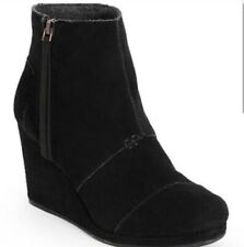 Toms Shoes Desert Wedge High Black Suede Womens US 7 NEW BNIB