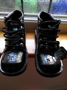 Girls Black Patent Kicker Boots 3 (36)