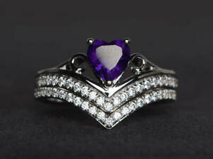 2.50Ct Heart Cut Amethyst Solitaire Bridal Set Ring 14K White Gold Finish.