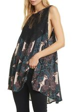 Free People Count Me In Trapeze Top. Navy . 8/10 bnwt bohemiam paisley