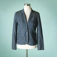 J Crew Size 2 Blue Blazer Schoolboy Indigo Dot Cotton Button Career Jacket 40203