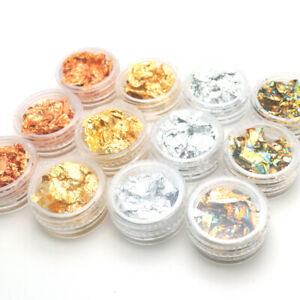 Gold Silver Nail Art Glitter Foil Paillette Chip Flake Tips Polish Gel UV Design