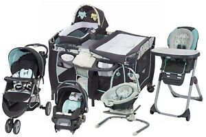 Baby Stroller Travel System with Car Seat Playard Newborn Swing High Chair Combo
