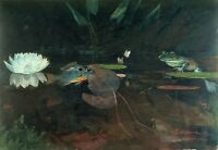 Oil painting Winslow Homer Mink Pond with fish frog lotus flowers landscape art