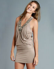 Womens V-Neck Sexy Tan Embellished Neckline Tunic Dress Clubwear S