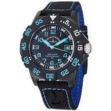 Zeno Men's 6709-515Q-A14 Divers Black Dial Black/Blue Fabric Strap Quartz Watch