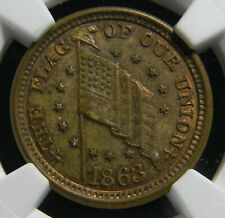 1863 Civil War Token, The Flag of Our Union, F-208/410 a MS 65 BN