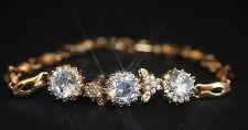Created Diamond 3 Flower Rose Gold GF Bracelet  18.5cm / 7.28inches