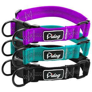Reflective Nylon Dog Collar Small to Large Dogs Strong Training Collar Black S-L
