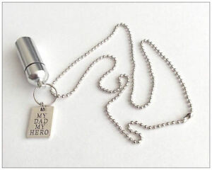 Cremation Jewellery Ashes Urn My Dad My Hero Charm Keepsake Memorial Necklace