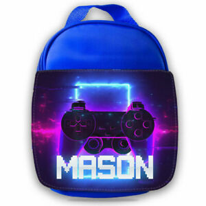 Personalised Console Kids Blue Lunch Bag Any Name Children School Snack Box 89