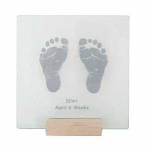 Transparent Glass Tile Displaying Baby Hand and Foot Prints - Gift For Parents