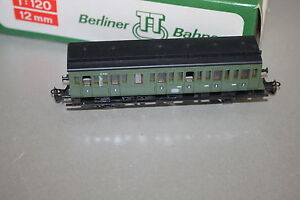 Berliner TT Bahnen 3-Achser Personenwagen 2.Klasse DB grün Spur TT OVP