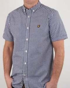 Lyle And Scott Short Sleeve Gingham Shirt - Navy - BNWT