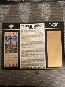 22KT GOLD SUPER BOWL 30 XXX COWBOYS VS STEELERS OFFICIALLY AUTHORIZED NFL TICKET