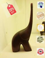 Wood Elephant Sculpture Hand Carved vintage Wooden Figurine Lucky Statue Ceylon