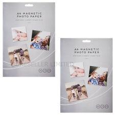 4 x A4 Dimensione Fogli Lucido Gloss Carta Stampante Fotografica Magnetica Frigo Porta carte di credito