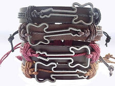 Mens genuine leather wristband rock star guitar charm bracelet